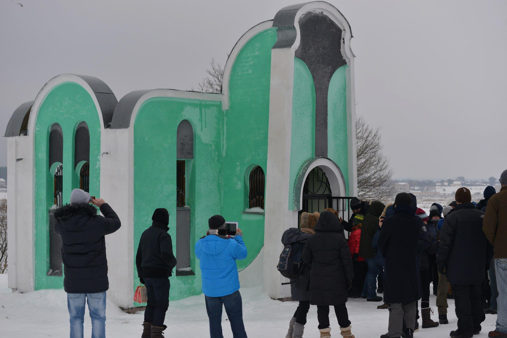 Students gather outside of the grave of Mordechai of Chernobyl