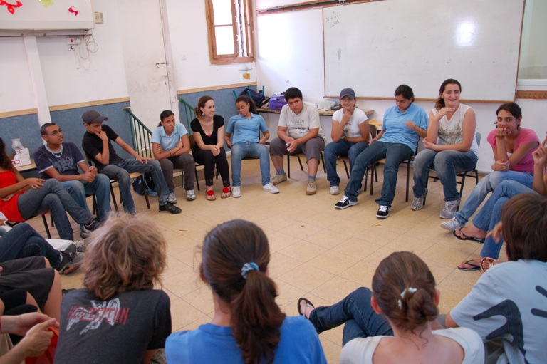 Palestinian and Israeli teens participating in YCP's Teen Dialogue Program meet for the first time