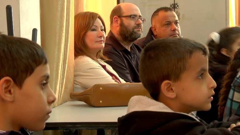 Karen and Yehuda Berg visit a KCP class in East Jerusalem in November of last year