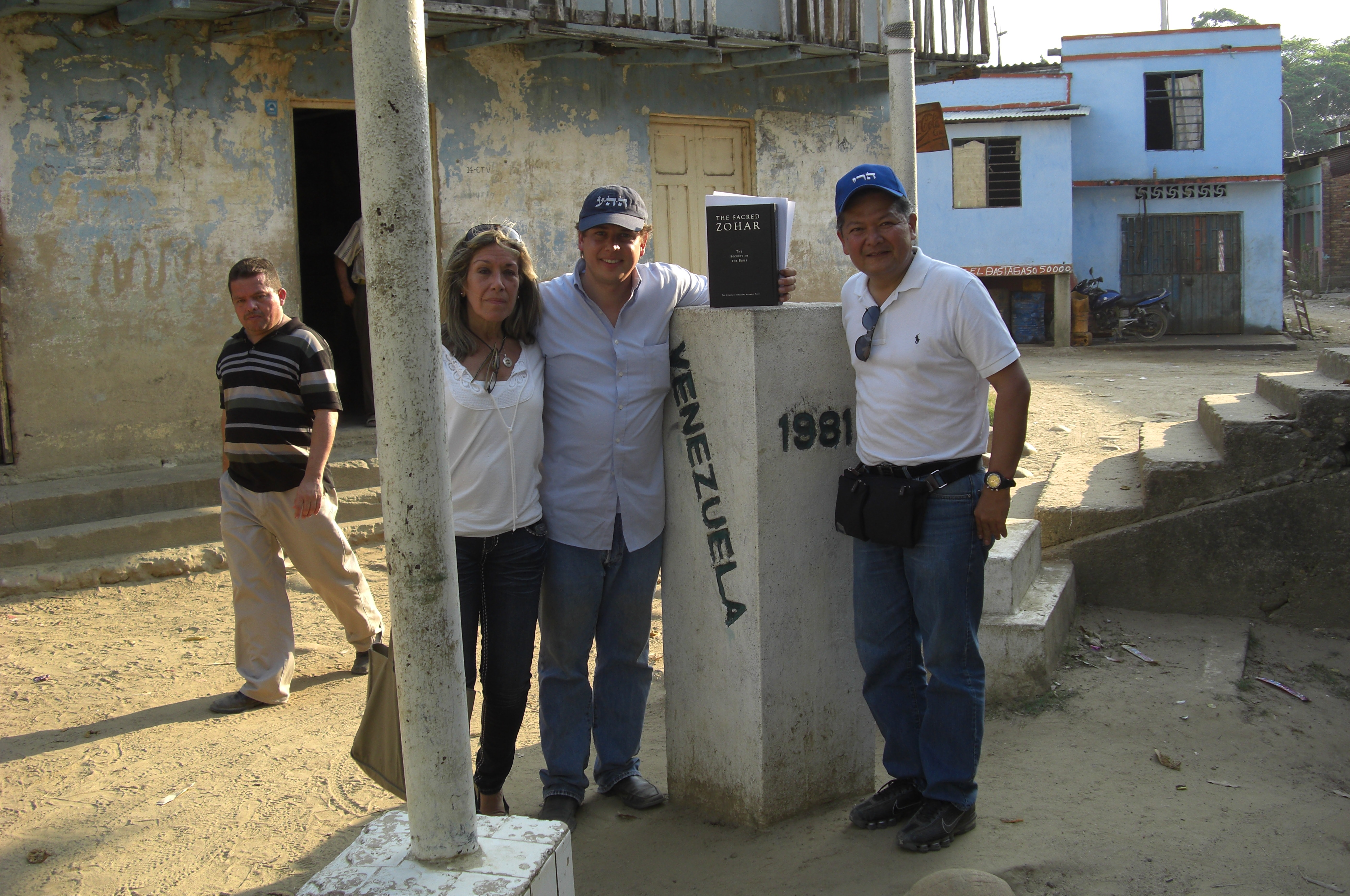 Kabbalah Centre volunteers pose near the Colombia/Venezuela border